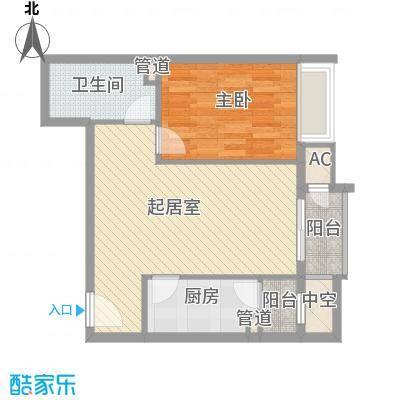 金隅凤麟洲70.00㎡1#D1户型1室2厅1卫1厨