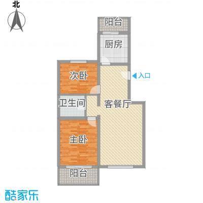 鑫兆丽园亚北新区103.98㎡户型B1户型2室2厅1卫1厨