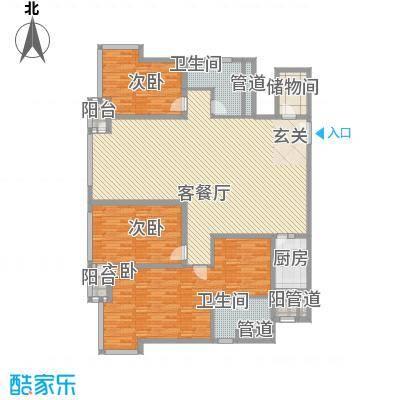 外企国际公寓186.74㎡H户型3室2厅2卫1厨