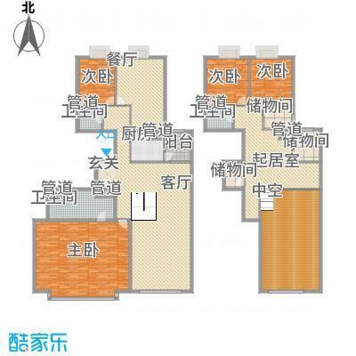 外企国际公寓332.30㎡J户型4室4厅3卫1厨