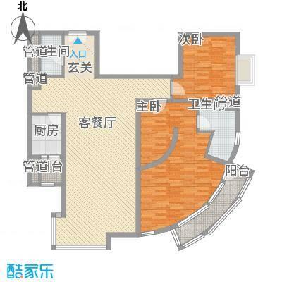外企国际公寓144.33㎡G户型2室2厅2卫1厨
