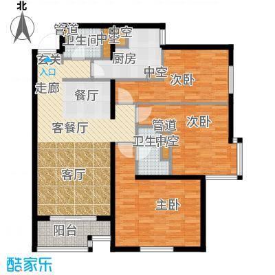 北苑家园秀城107.81㎡202号楼04户型3室2厅2卫1厨