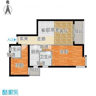 北苑家园秀城99.42㎡205号楼02户型2室2厅2卫1厨
