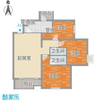 北苑家园锦城139.69㎡05户型3室1厅2卫1厨