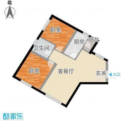 保利嘉园塔楼A户型2室2厅1卫1厨