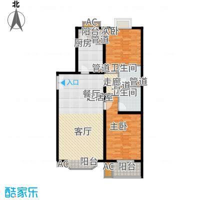 国展新座113.76㎡户型2室2厅2卫1厨