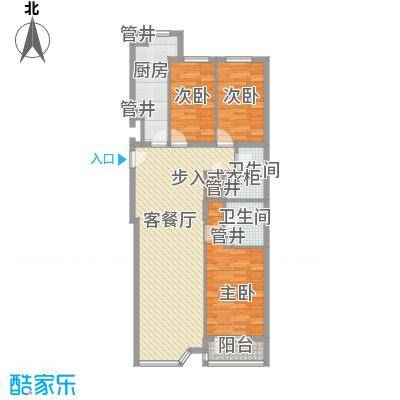 欧堡117.31㎡唯美三居户型3室2厅2卫1厨