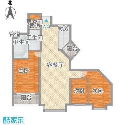 万科水榭花都156.00㎡万科水榭花都156.00㎡3室2厅2卫1厨户型3室2厅2卫1厨