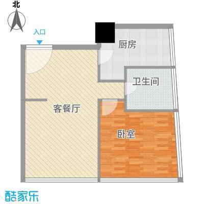 新街口苏宁生活广场85.00㎡标准层户型G户型1室2厅1卫1厨