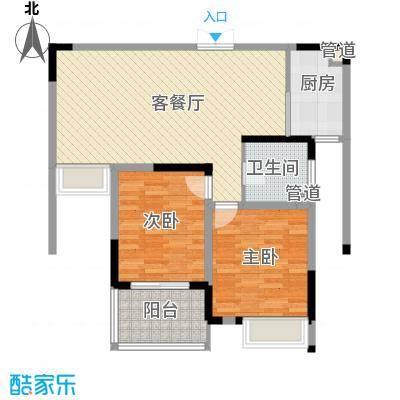 江雁依山郡89.00㎡二期20号楼标准层F3户型2室2厅1卫1厨
