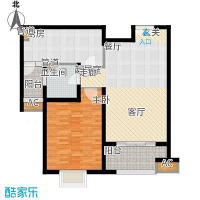 世茂外滩新城86.80㎡二期17号楼标准层C户型1室2厅1卫1厨