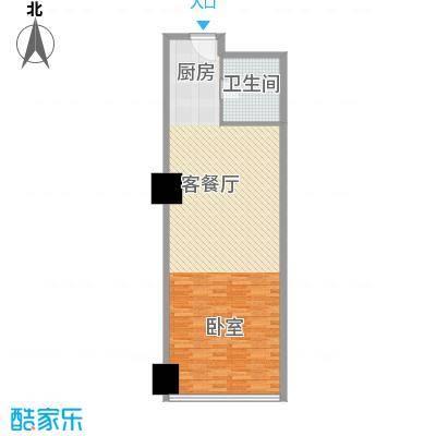 新街口苏宁生活广场86.00㎡标准层户型B户型1室2厅1卫1厨