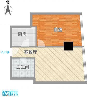 新街口苏宁生活广场84.00㎡标准层户型J户型1室2厅1卫1厨