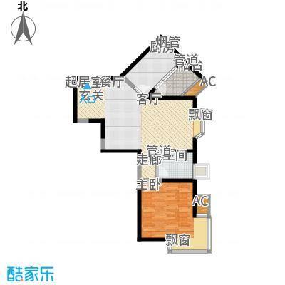 世茂外滩新城78.00㎡2#楼户型单页J1户型1室2厅1卫1厨