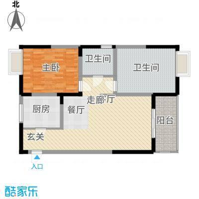 边城世家92.00㎡一期标准层A1户型2室2厅1卫1厨
