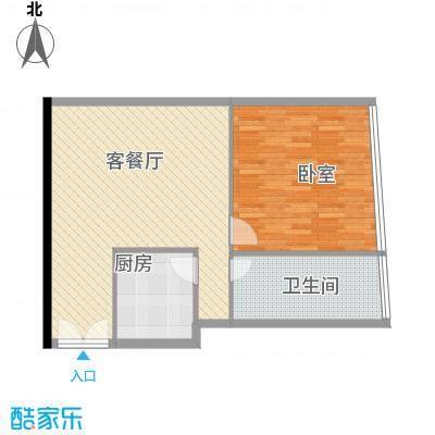 新街口苏宁生活广场85.00㎡标准层户型K户型1室2厅1卫1厨