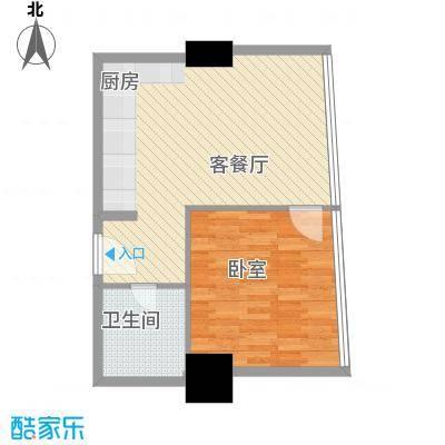 新街口苏宁生活广场64.00㎡标准层户型H户型1室2厅1卫1厨