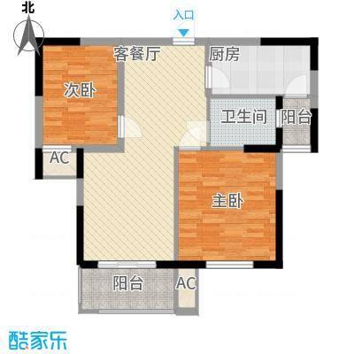 壹城逸境90.00㎡一期1幢标准层D户型2室2厅1卫1厨