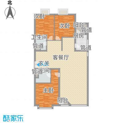 外企国际公寓183.92㎡E户型3室2厅2卫1厨