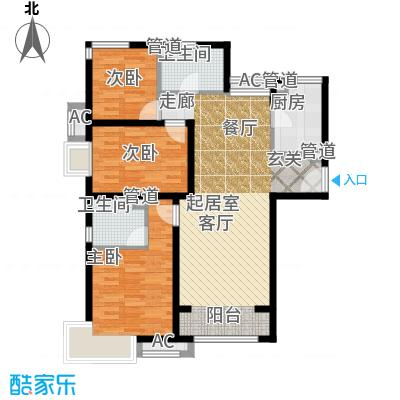中建国际港122.00㎡D1户型3室2厅2卫1厨