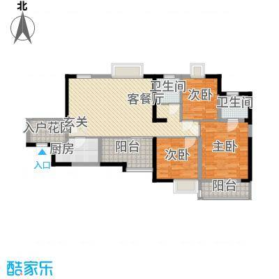 金陵王榭115.29㎡F户型3室2厅1卫1厨