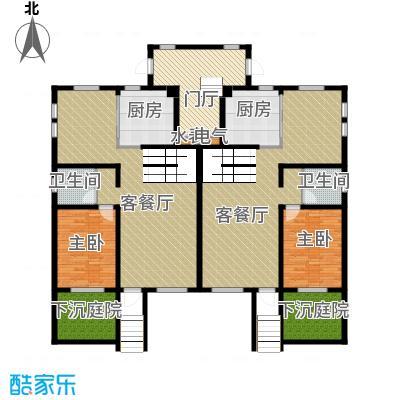 恒盛·藝墅221.14㎡叠拼首层平面图户型2室2厅2卫2厨