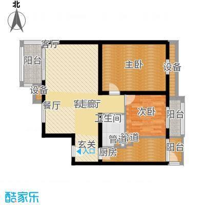 宏大南园99.65㎡III组团G1户型2室2厅1卫1厨