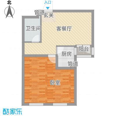 保利嘉园板楼C户型1室2厅1卫1厨