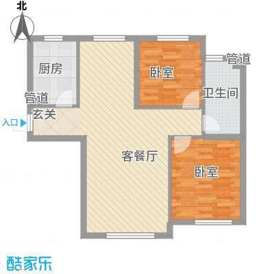 保利嘉园板楼D户型2室2厅1卫1厨