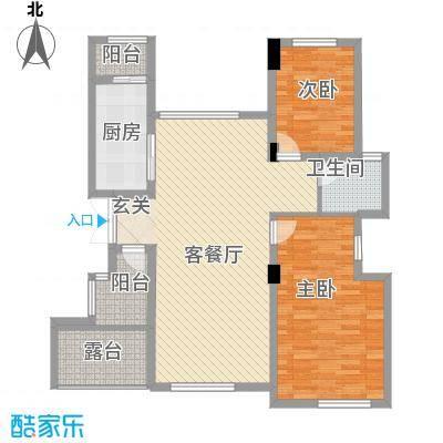 紫玉山庄98.70㎡二期03栋6层602、603室户型2室2厅1卫1厨