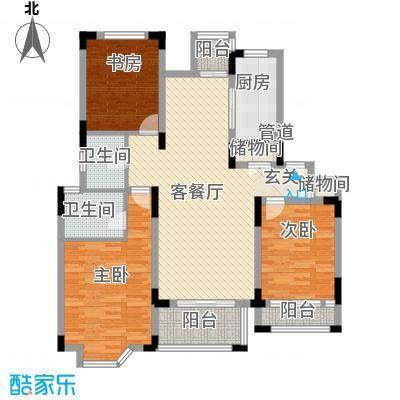 中冶钟鼎山庄129.46㎡D4户型3室2厅2卫1厨