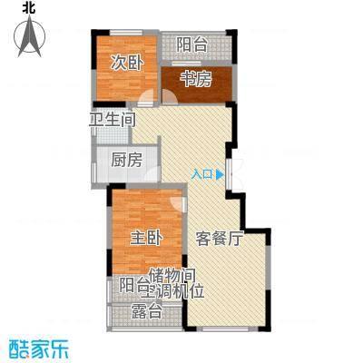紫玉山庄108.68㎡二期2号楼3层304室户型3室2厅1卫1厨