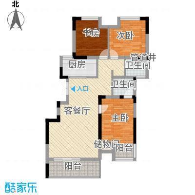 紫玉山庄107.16㎡402、403室户型3室2厅2卫1厨