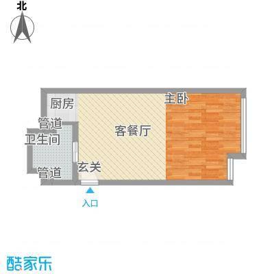 凯铂精品酒店53.00㎡三期3号楼标准层B1'户型1室1厅1卫1厨