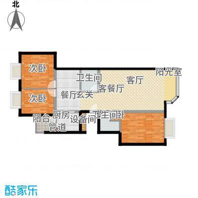 宏盛家园西区116.55㎡M户型3室2厅2卫1厨