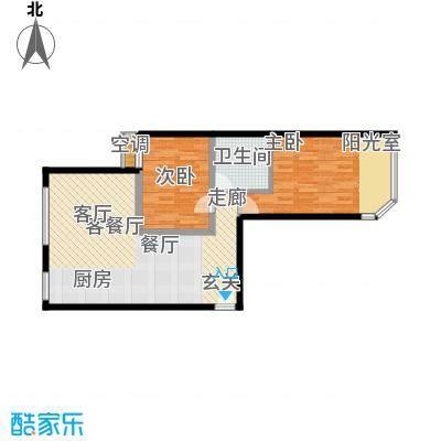 宏盛家园西区79.04㎡J户型2室2厅1卫1厨