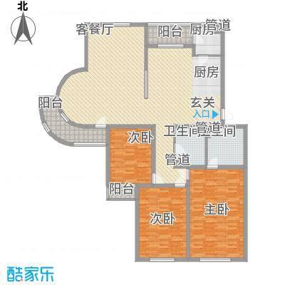 月桂庄园别墅E1户型3室2厅2卫1厨