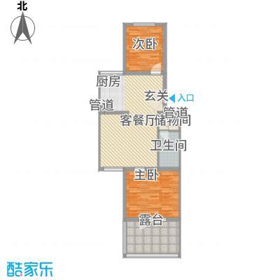 月桂庄园别墅87.51㎡公寓F6户型2室2厅1卫1厨