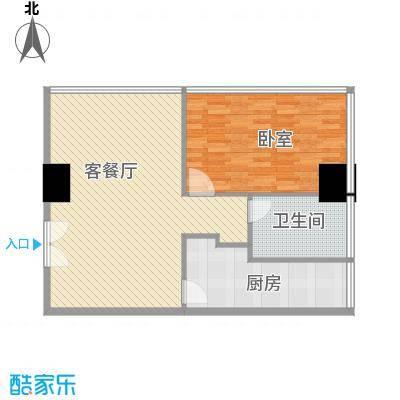 新街口苏宁生活广场103.00㎡标准层户型R户型1室2厅1卫1厨