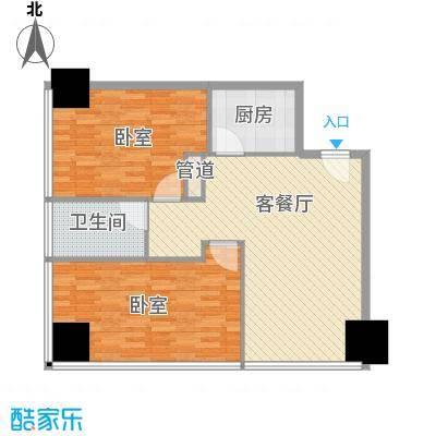 新街口苏宁生活广场108.00㎡标准层户型F户型2室2厅1卫1厨