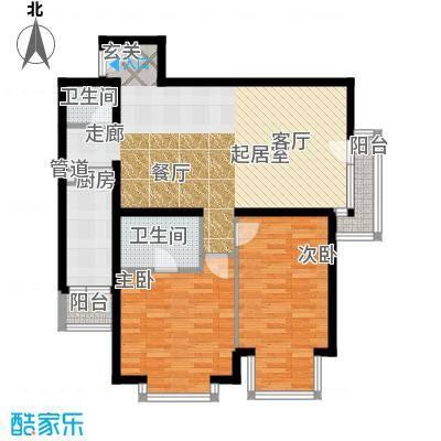 cago寓所105.11㎡C户型2室2厅2卫1厨