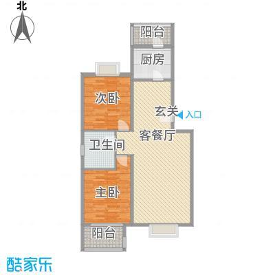 书海文园92.36㎡C户型2室2厅1卫1厨