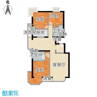 山水LAVIE155.00㎡34#B户型3室2厅2卫1厨