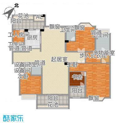 天正滨江261.82㎡1期1、3栋标准层A2户型4室2厅3卫
