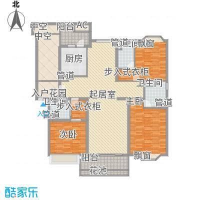 天正滨江170.85㎡1期1号楼标准层D1户型3室2厅3卫