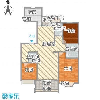 天正滨江187.69㎡1期3号楼标准层F2户型3室2厅2卫