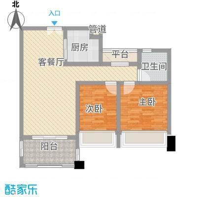 莱蒙水榭春天88.00㎡F-1户型(88-90㎡)家配图户型2室2厅1卫1厨