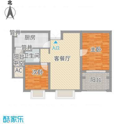 御江金城90.00㎡10、11栋标准层B2户型2室2厅1卫