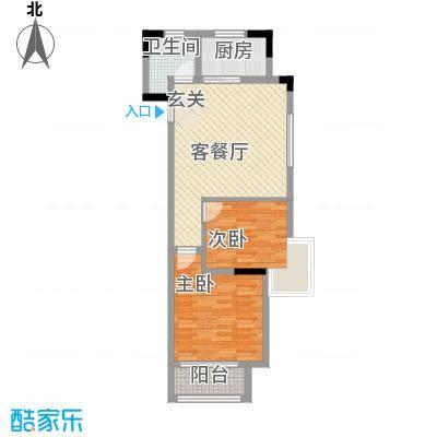 钟鼎雅居项目80.00㎡3-4号楼标准层A1户型2室2厅1卫1厨