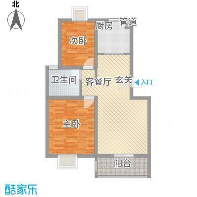 金陵王榭77.58㎡B户型2室2厅1卫1厨